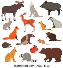 Vector illustration of cute woodland animals isolated on white background, such as fox, hare, wolf, moose, squirrel...