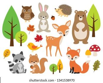 Vector illustration of cute woodland forest animals including deer, rabbit, hedgehog, bear, fox, raccoon, bird, owl, and squirrel.