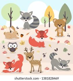 Vector illustration of cute woodland forest animals including deer, rabbit, bear, fox, raccoon, bird, owl