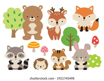 Vector illustration of cute woodland forest animals including a bear, deer, fox, raccoon, hedgehog, squirrel, and rabbit.