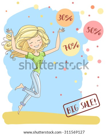 vector illustration cute young girl long stock vector royalty free