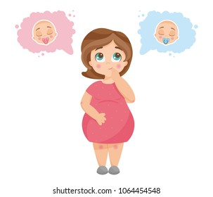 Vector illustration of cute young pregnant woman wondering about her future baby gender. It's a boy or girl quiz. Expecting woman standing and thinking, newborn boy and girl in thought bubbles.