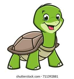 Vector illustration of a cutely smiling cartoon baby turtle