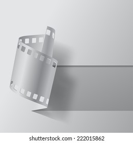 Vector illustration of cutout and paper film stripe on white blank. Movies banner