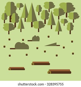 Vector illustration. Cutting down and exploiting of trees in forest