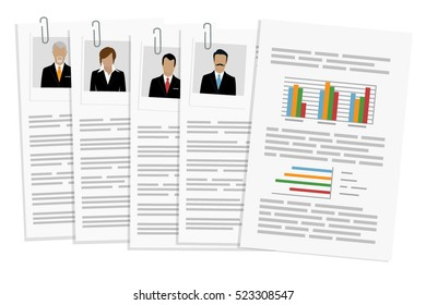 Vector illustration cv or resume, report design template with man, woman, senior photo. Curriculum vitae icon.