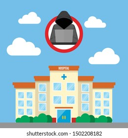 Vector illustration of cyber security threats at hospital. Flat design. Healthcare data breach concept. HIPAA compliance.