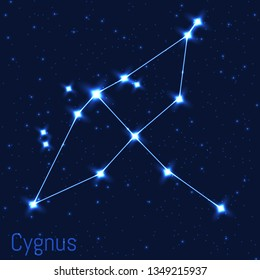 Vector illustration of Cygnus constellation. Astronomical Swan. Cluster of realistic stars in the dark blue starry sky.