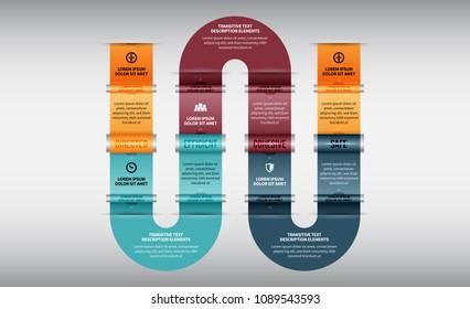 Vector illustration of Cylinder Side Lanes Infographic design element.
