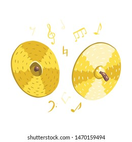 Vector illustration of cymbals with musical symbols. Classical musical instruments. Warm colors. Isolated objects. White background