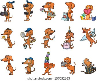 Vector illustration of dachshund dogs characters set. Easy-edit layered vector EPS10 file scalable to any size without quality loss. High resolution raster JPG file is included.