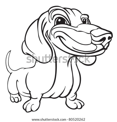 Vector Illustration Dachshund Isolated On White Stock Vector