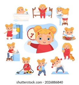 Vector illustration daily activities routine. Cute little cartoon girl doing daily chores.