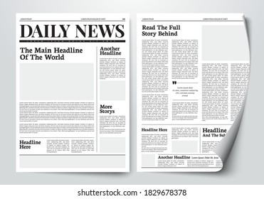 Vector Illustration Daily News Paper Template With Text And Picture Placeholder.