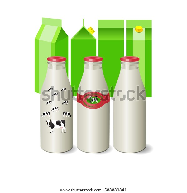 Vector Illustration. Dairy products.