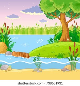 Vector illustration with a dam of beavers. Nature in the cartoon style.