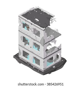 A vector illustration of a damaged building icon. Isometric building destroyed by war or a natural disaster. demolished architecture icon.