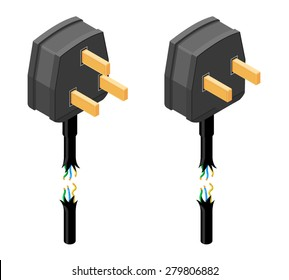 A vector illustration of a damaged electricity power cable with plug. Isometric Damaged Plug with visible electrical wires icon. Two plug icons that have a torn cable.