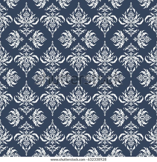Vector illustration. Damask seamless background pattern in white and blue colors.