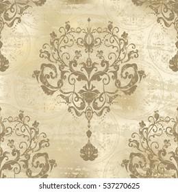 Vector illustration. Damask seamless floral pattern.