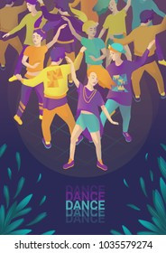 "Vector illustration ""Dance, dance, dance!"". Can be used as a poster, flyer, invitation. Bright and fun dancing people. Flora elements. Dark background."