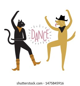 Vector illustration with dancing cat in boots and dog in cowboy hat. Dance lettering word. Funny colored typography poster with domestic animal, party flyer template, print design