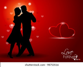 Vector illustration of dancing couple silhouette, on red background having hearts. EPS 10.