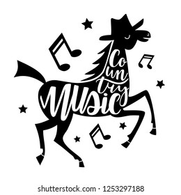 Vector illustration with dancing horse and lettering words - Country music. Typography print design with animal, text, melogy signs and stars
