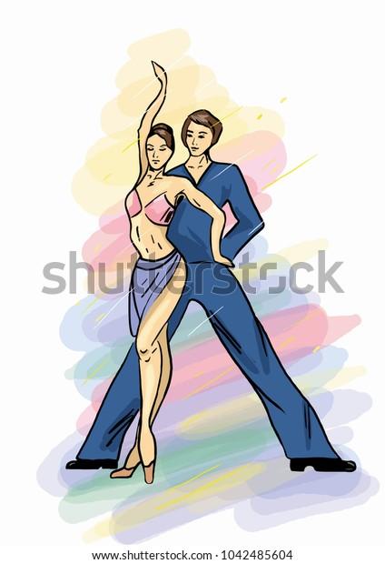 A vector illustration of dancing men and women, ballroom dancing