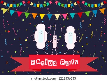 Vector illustration of dancing menstrual pad and tampon. Menstruation period and feminine hygiene products. First girl menstruation party time. Celebrating daughters menses days. Carnival background