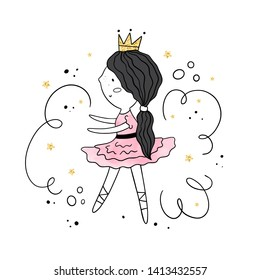 Vector illustration with dancing Princess. Gold and watercolor textures