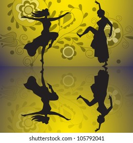 Vector illustration of dancing women silhouette