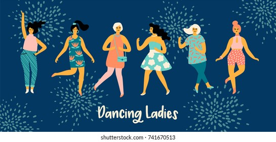 Vector illustration of dancing women. Trendy retro style.