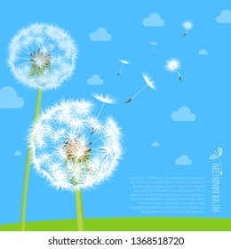Vector illustration of dandelion seeds blowing away on the wind in the clear blue sky over green spring meadow. Make a wish with dandelion fluff vector abstract background template.