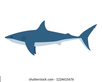 961f9e9afee2d Vector illustration of a dangerous great white shark on an isolated white  background. Side view