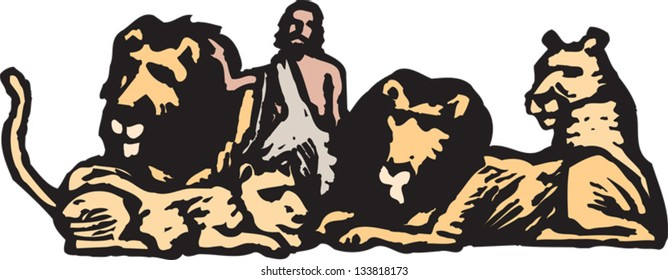 Vector illustration of Daniel and lions
