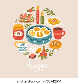 "Vector illustration with Danish food, drinks and hand written text ""Hygge"". Scandinavian style. Trendy concept background."