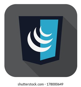 vector illustration of dark blue shield with javascript sign, is