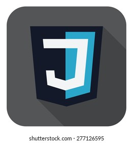vector illustration of dark blue shield with J letter on the screen, isolated web site development icon white background