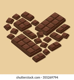 Vector illustration of dark chocolate bar pieces forming heart shape in light brown background.