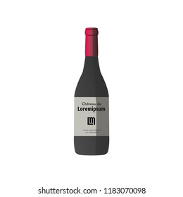 Vector illustration with dark grey wine bottle, red cap and sticker with text
