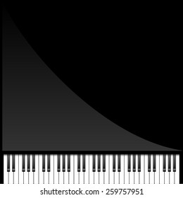 Vector illustration of dark piano background. top view