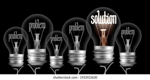 Vector illustration of dark and shining light bulbs with fibers in a shape of Problem and Solution concept isolated on black background