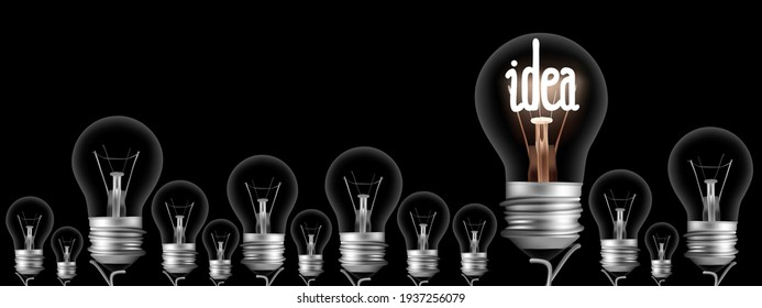 Vector illustration of dark and shining light bulbs with fiber in Idea shape isolated on black background.
