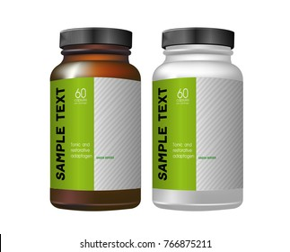 Vector illustration. Dark and white package for medicines on a white background. - Shutterstock ID 766875211