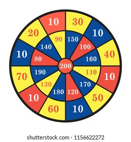 Vector illustration of dartboard for darts game isolated on white background