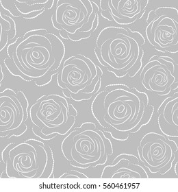 Vector illustration. Dashed English roses seamless pattern on a neutral background. Dashed painting with Rose flowers.