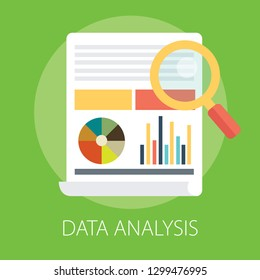 "Vector illustration of data analysis and financial research with ""data analysis"" financial data concept."