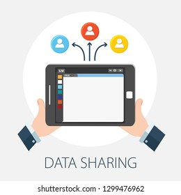 "Vector illustration of data sharing & technology concept with ""data sharing"" communication concept icon."