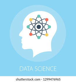 "Vector illustration of data technology & science concept with ""data science"" innovation concept icon."